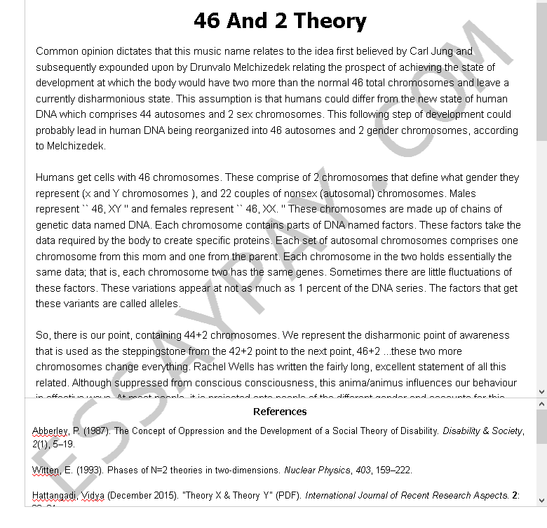 46 and 2 theory - Free Essay Example