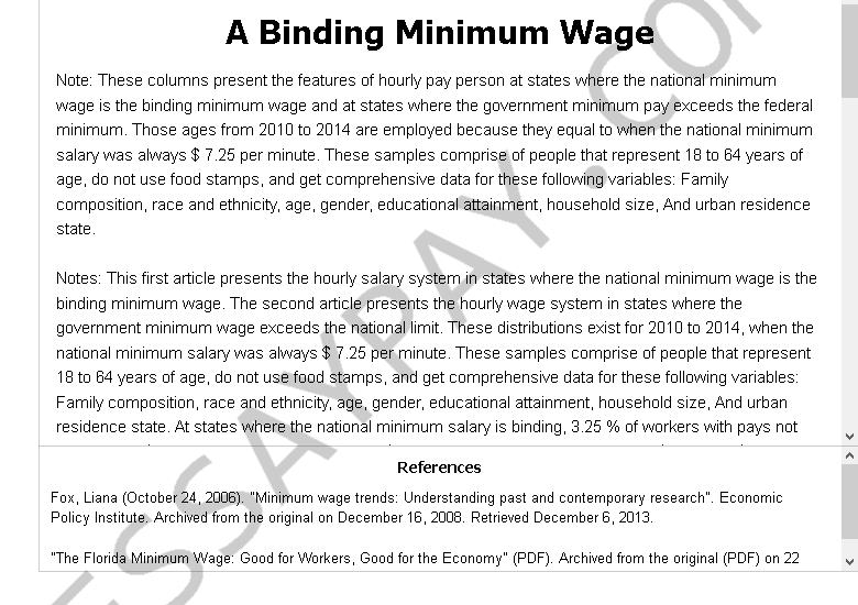 a binding minimum wage - Free Essay Example