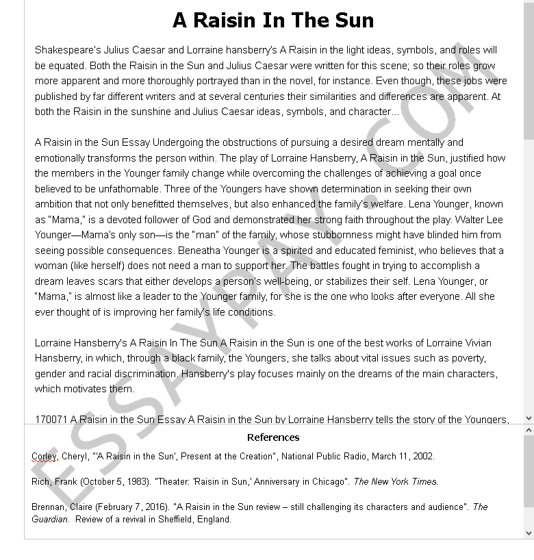 a raisin in the sun  - Free Essay Example