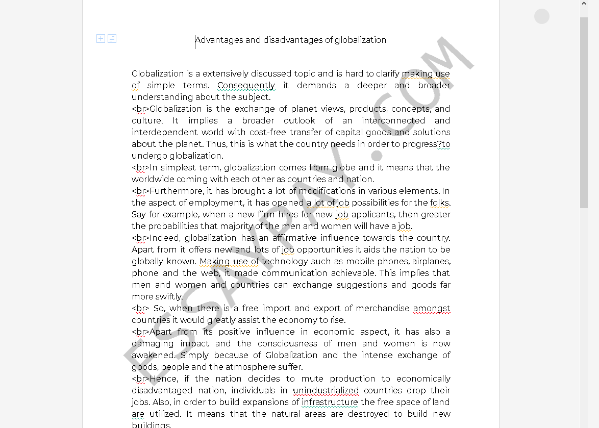 advantages and disadvantages of globalization essay - Free Essay Example