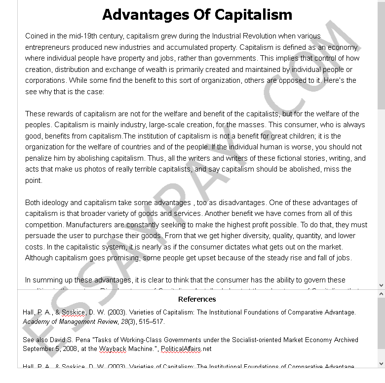 advantages of capitalism - Free Essay Example