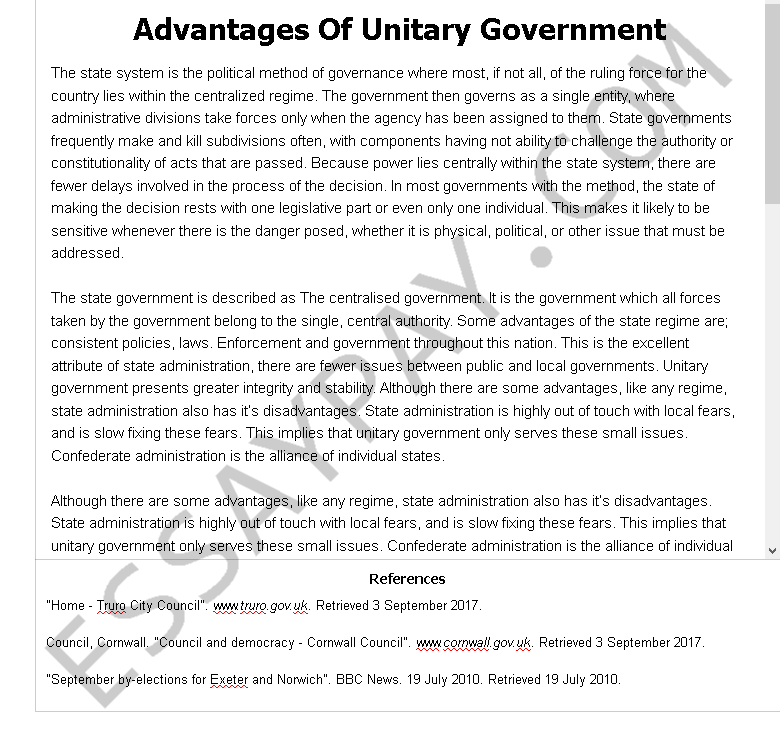 advantages of unitary government - Free Essay Example