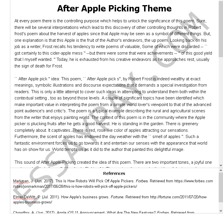 after apple picking theme - Free Essay Example