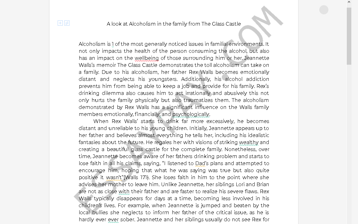 alcoholism in the glass castle - Free Essay Example
