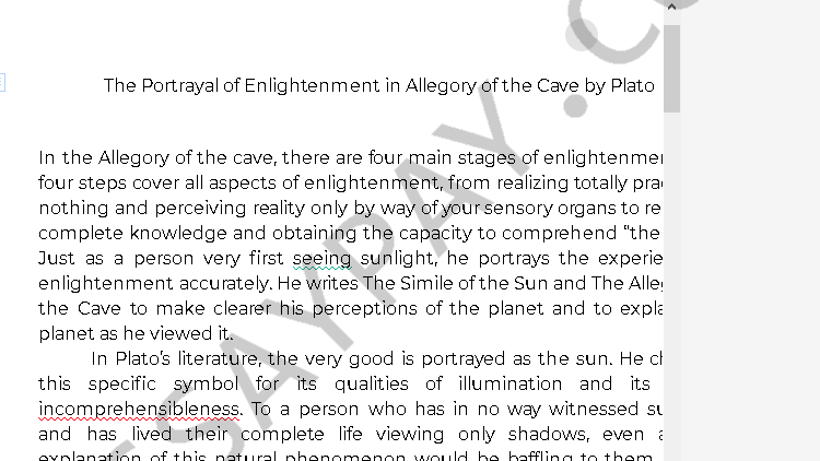 allegory of the cave enlightenment - Free Essay Example