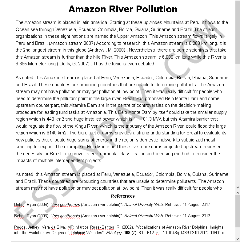 amazon river pollution - Free Essay Example