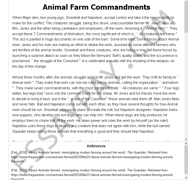 animal farm commandments - Free Essay Example
