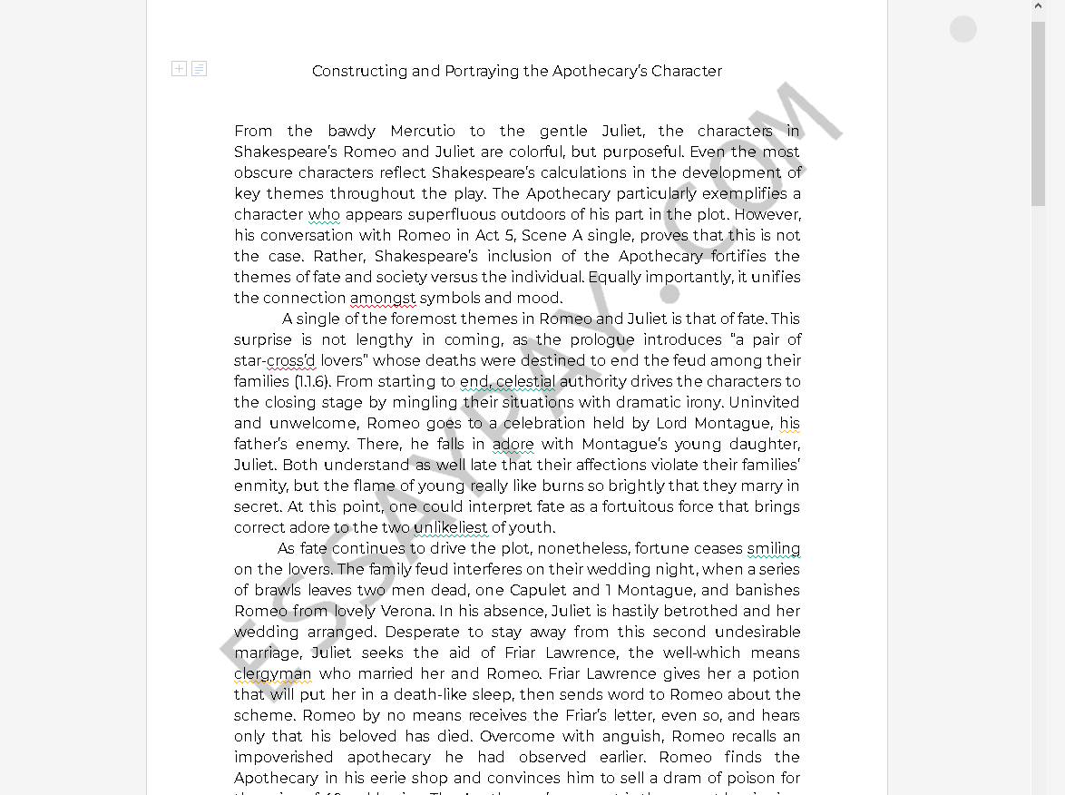 apothecary romeo and juliet - Free Essay Example