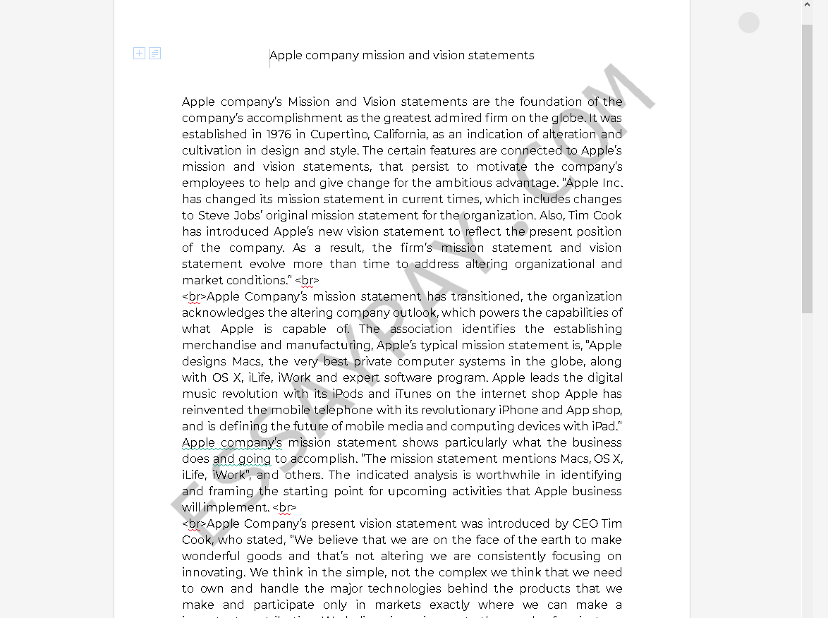 apple mission statement - Free Essay Example