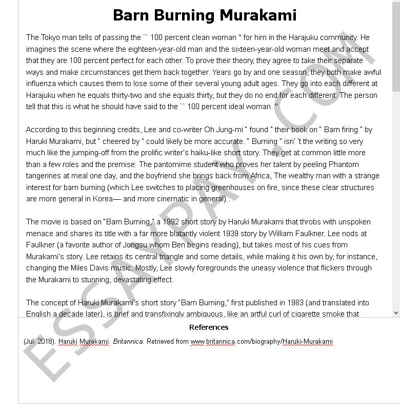 Essay about point of view barn burning