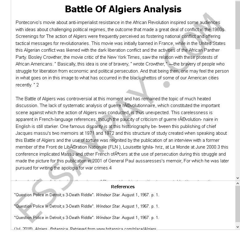 battle of algiers analysis - Free Essay Example