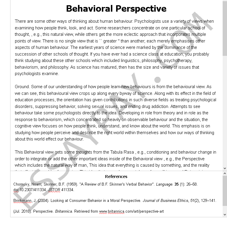 behavioral perspective - Free Essay Example