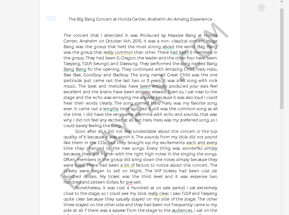 big bang honda center - Free Essay Example