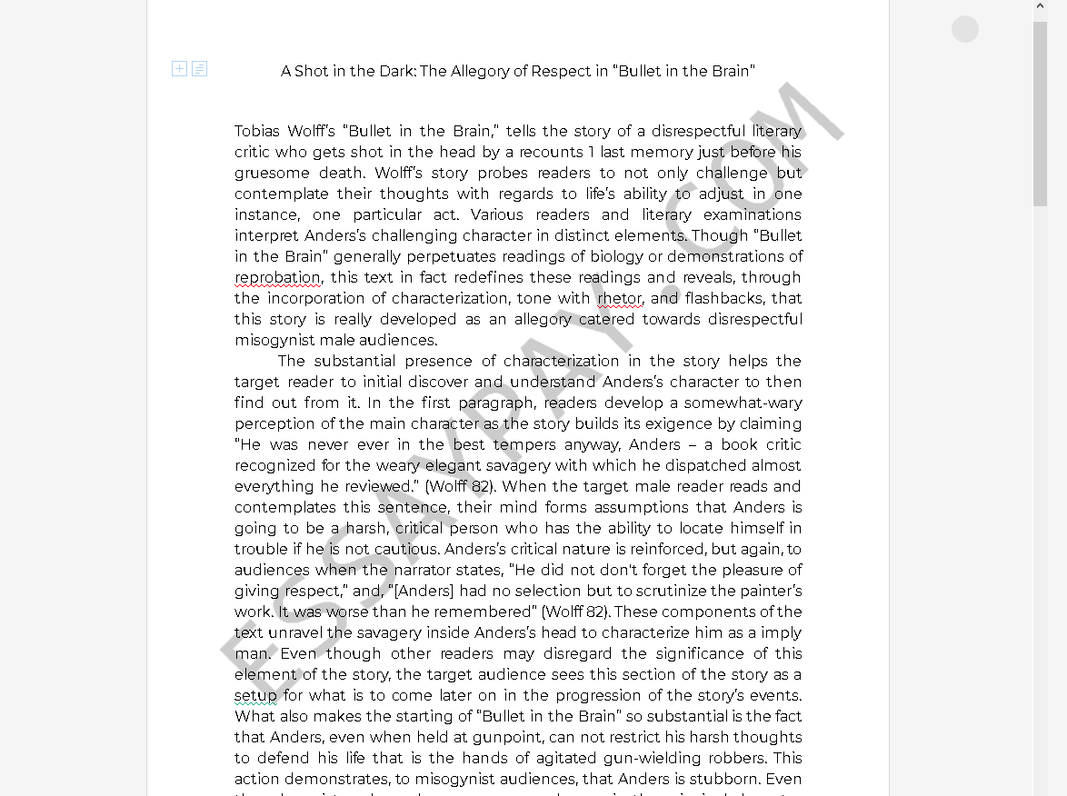 bullet in the brain tobias wolff pdf - Free Essay Example