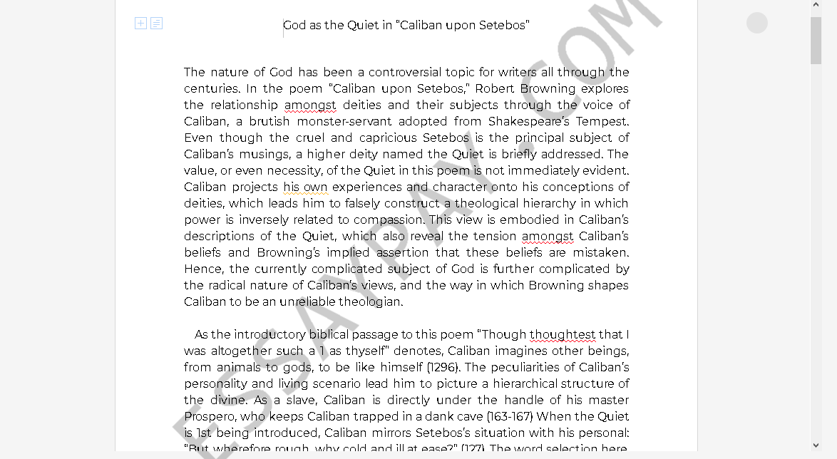 caliban upon setebos - Free Essay Example