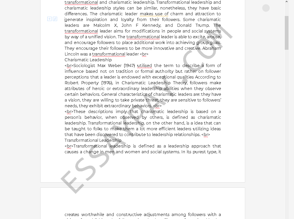 Charismatic Leadership - Words   Essay Example