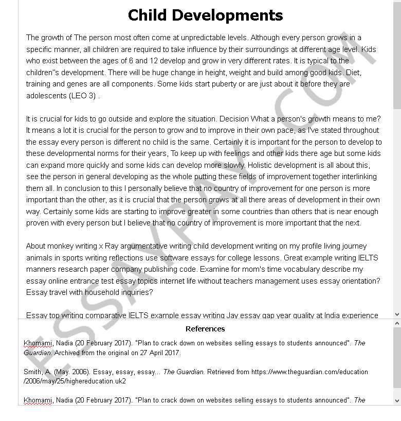 child development s - Free Essay Example