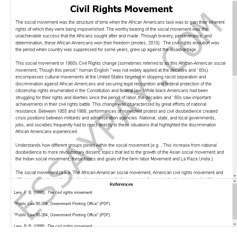 ≡Essays on Civil Rights. Free Examples of Research Paper Topics, Titles GradesFixer