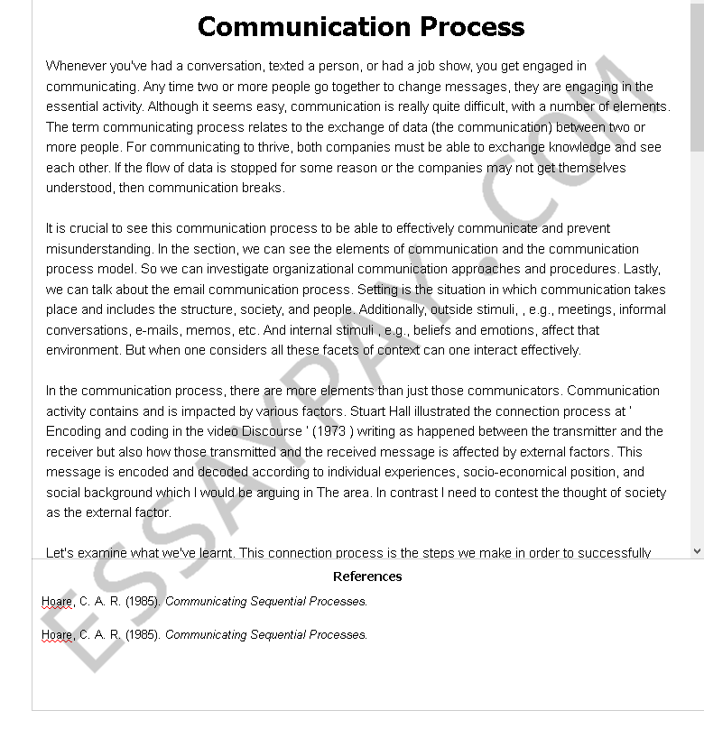 communication process - Free Essay Example