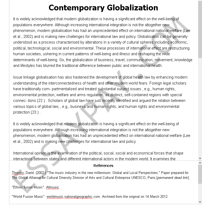 Contemporary Globalization Essay Example For Free