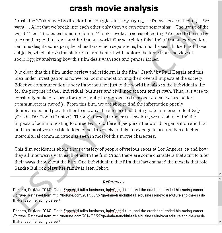 Crash movie essay