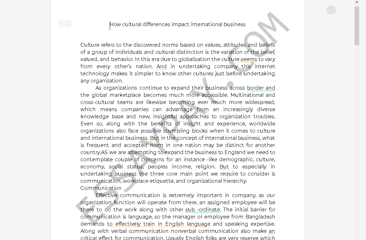Cultural Differences Essay   Bartleby