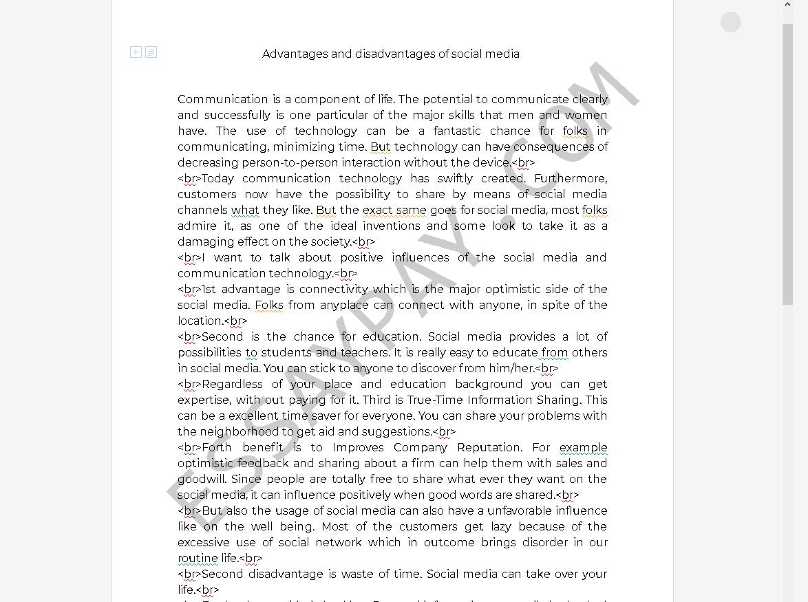 essay on advantages and disadvantages of social media