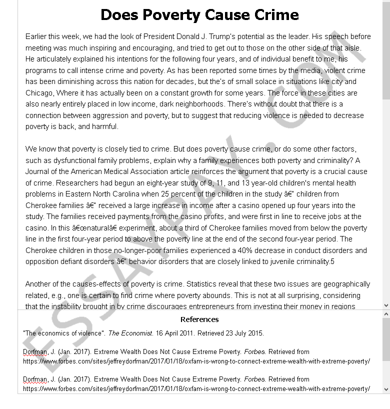 Causes of poverty essay