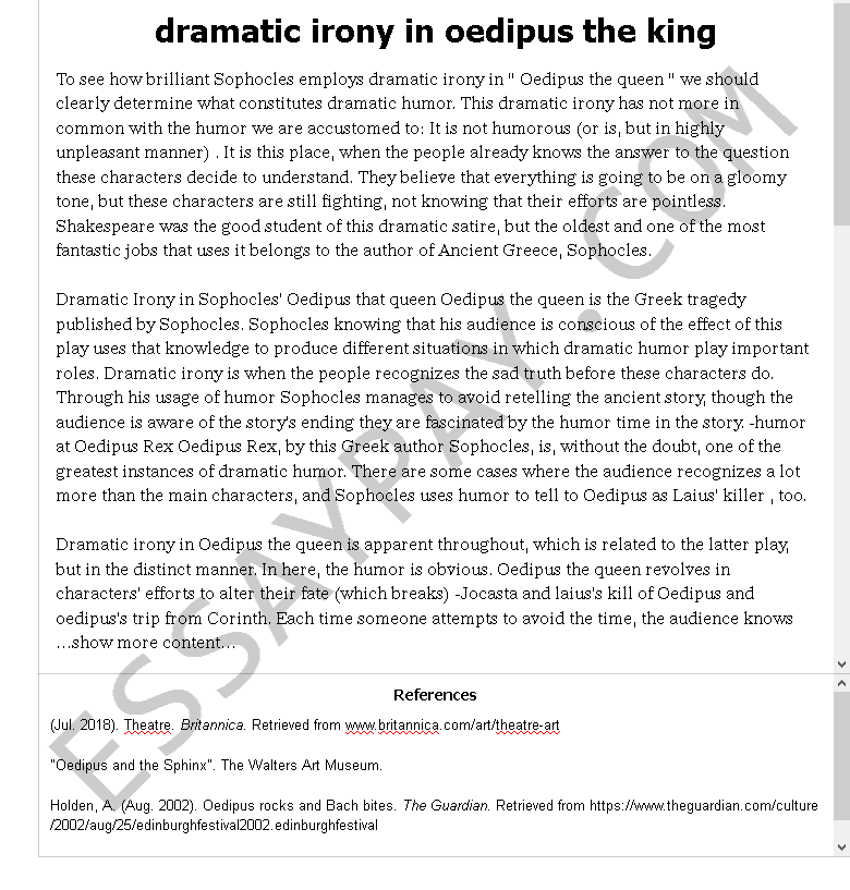 dramatic irony in oedipus the king - Free Essay Example