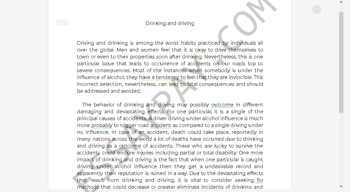 drinking and driving essays - Free Essay Example