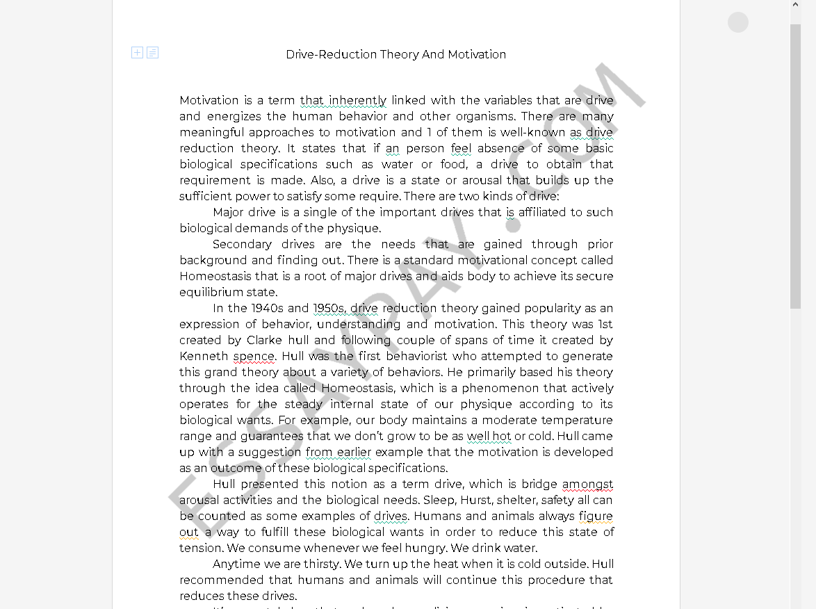 drive reduction theory - Free Essay Example