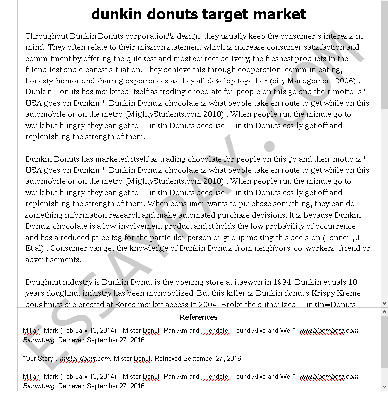 dunkin donuts target market - Free Essay Example