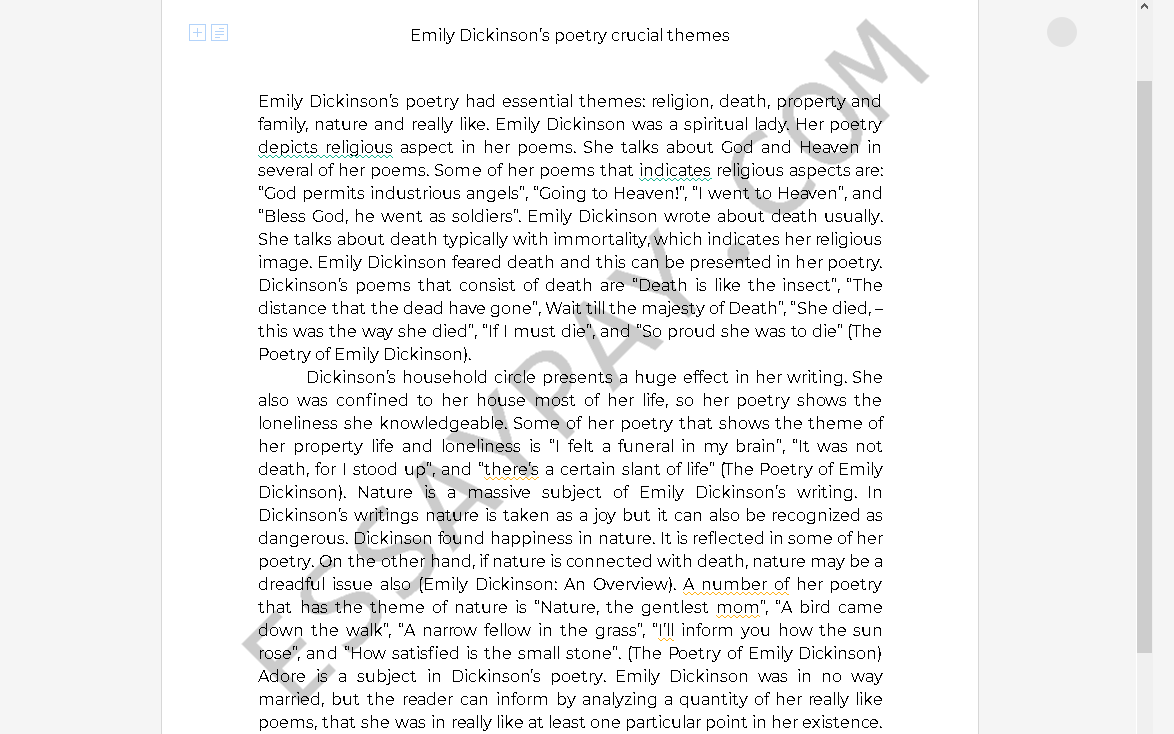 emily dickinson poetry themes - Free Essay Example