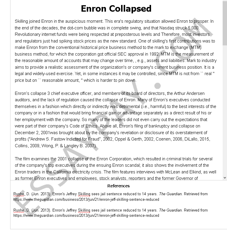 enron collapsed - Free Essay Example