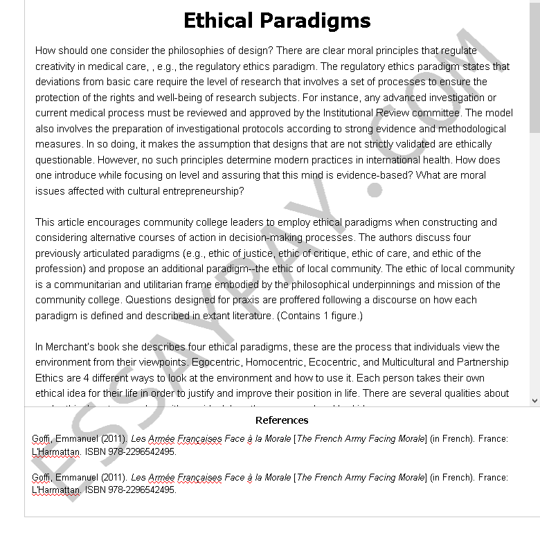 ethical paradigms - Free Essay Example