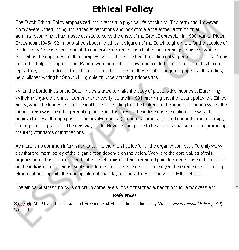 ethical policy - Free Essay Example