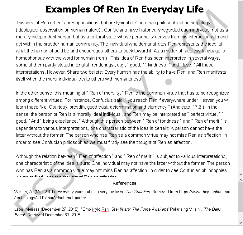 Essay Writing About School  Macbeth Essay Examples also Business Essays Samples Examples Of Ren In Everyday Life Essay Example For Free  Essay On Energy