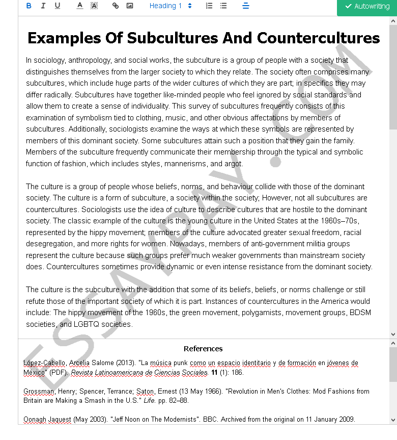 examples of subcultures and countercultures - Free Essay Example