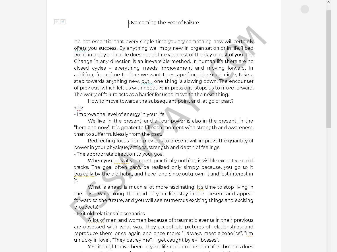 fear of failure essay - Free Essay Example