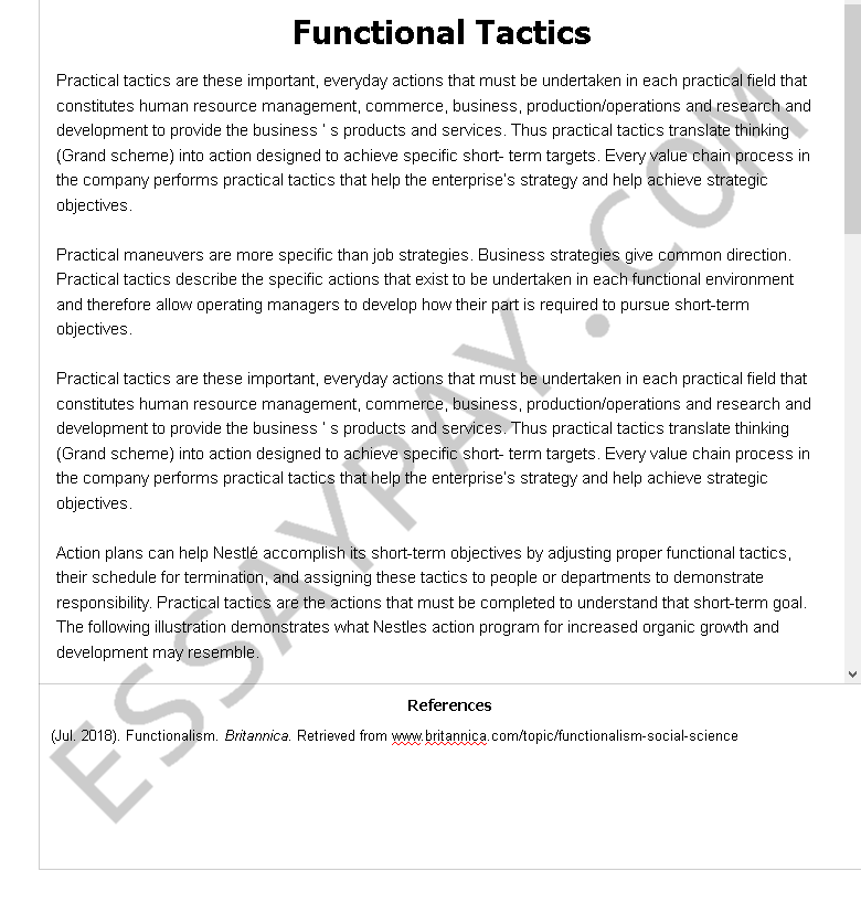 functional tactics - Free Essay Example