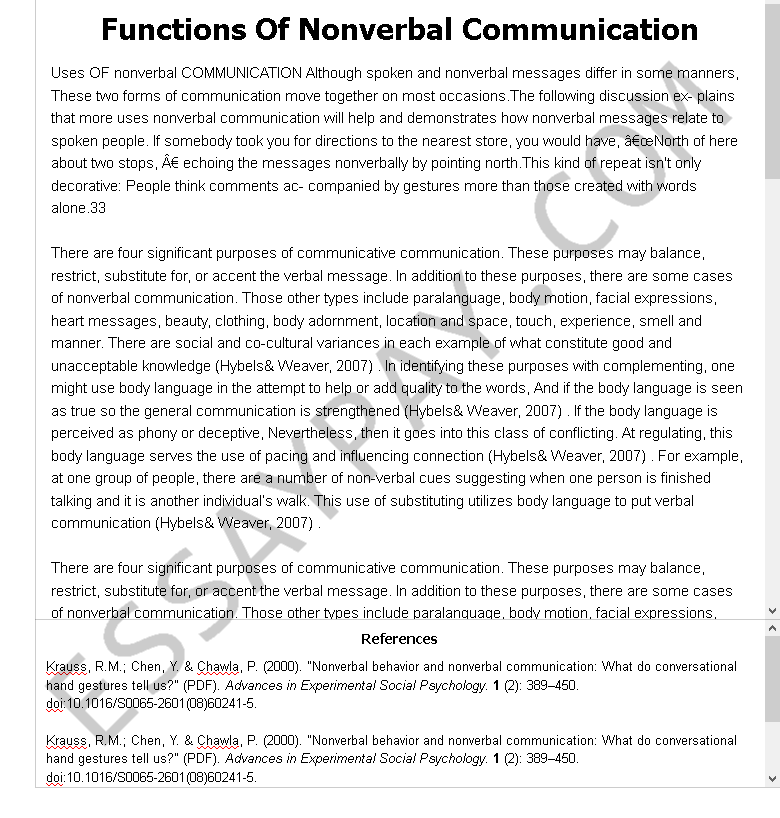 functions of nonverbal communication - Free Essay Example