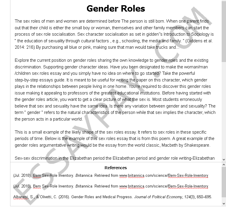 gender roles  - Free Essay Example