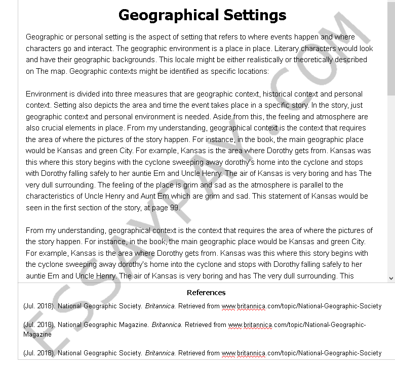 geographical settings - Free Essay Example