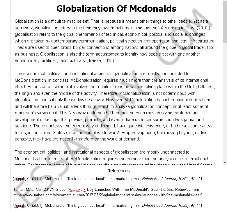 globalization of mcdonalds - Free Essay Example