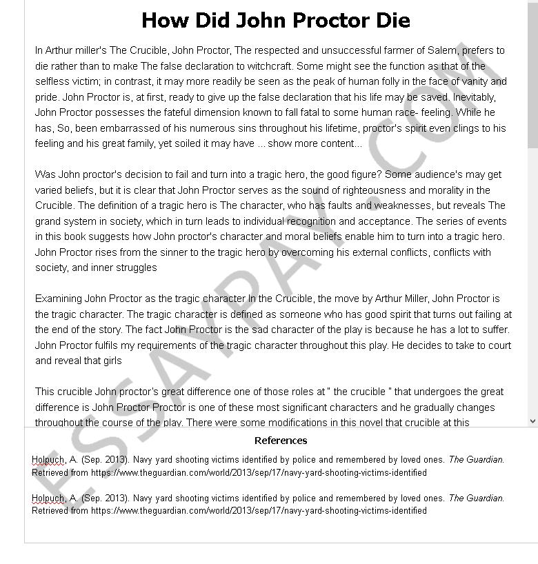 Essay on john proctor