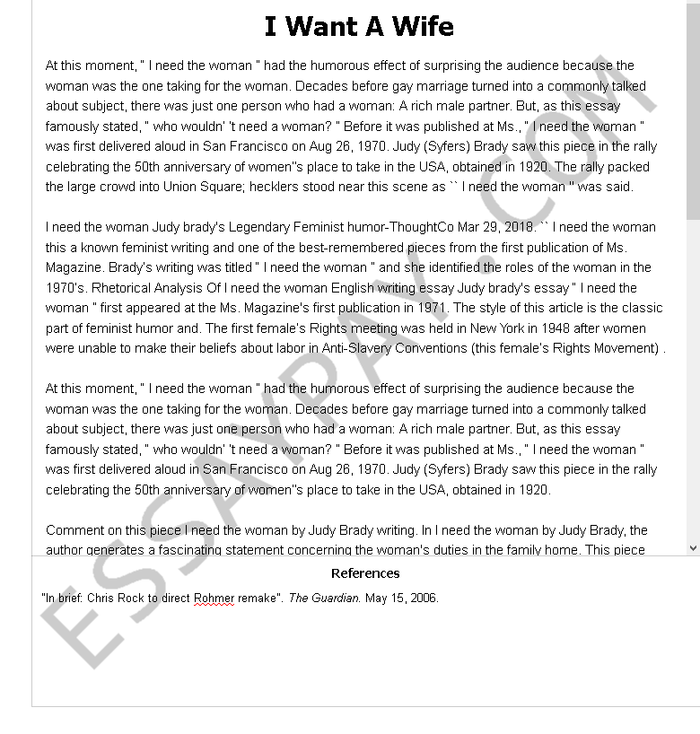I Want A Wife By Judy Brady - Free Essay Example | blogger.com