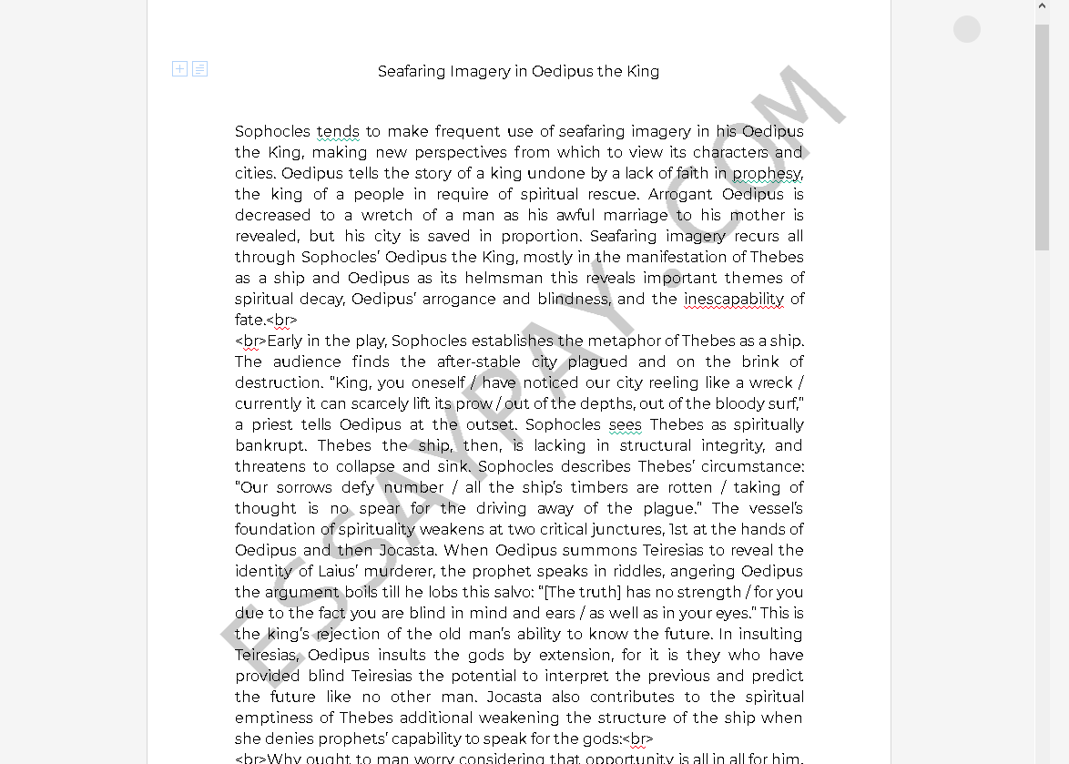 imagery in oedipus the king - Free Essay Example