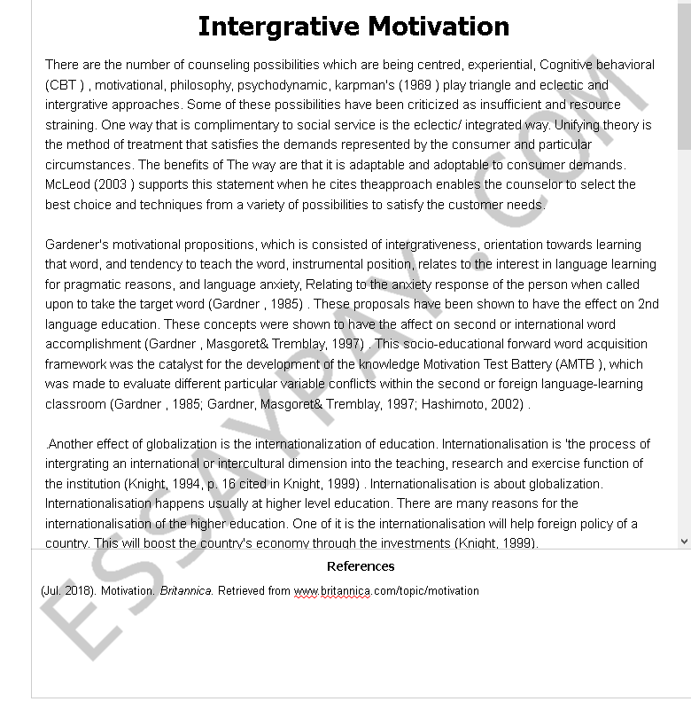 intergrative motivation - Free Essay Example