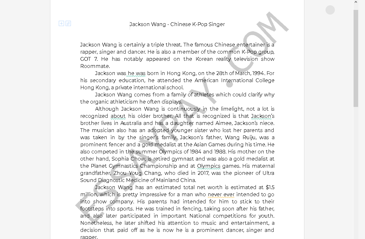 jackson wang net worth - Free Essay Example