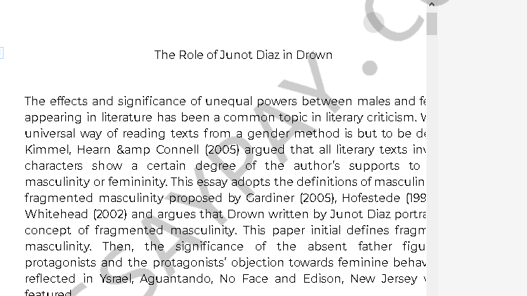 junot diaz drown analysis - Free Essay Example